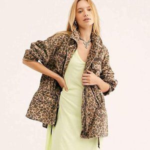 Free People Seize The Day Military Leopard Jacket